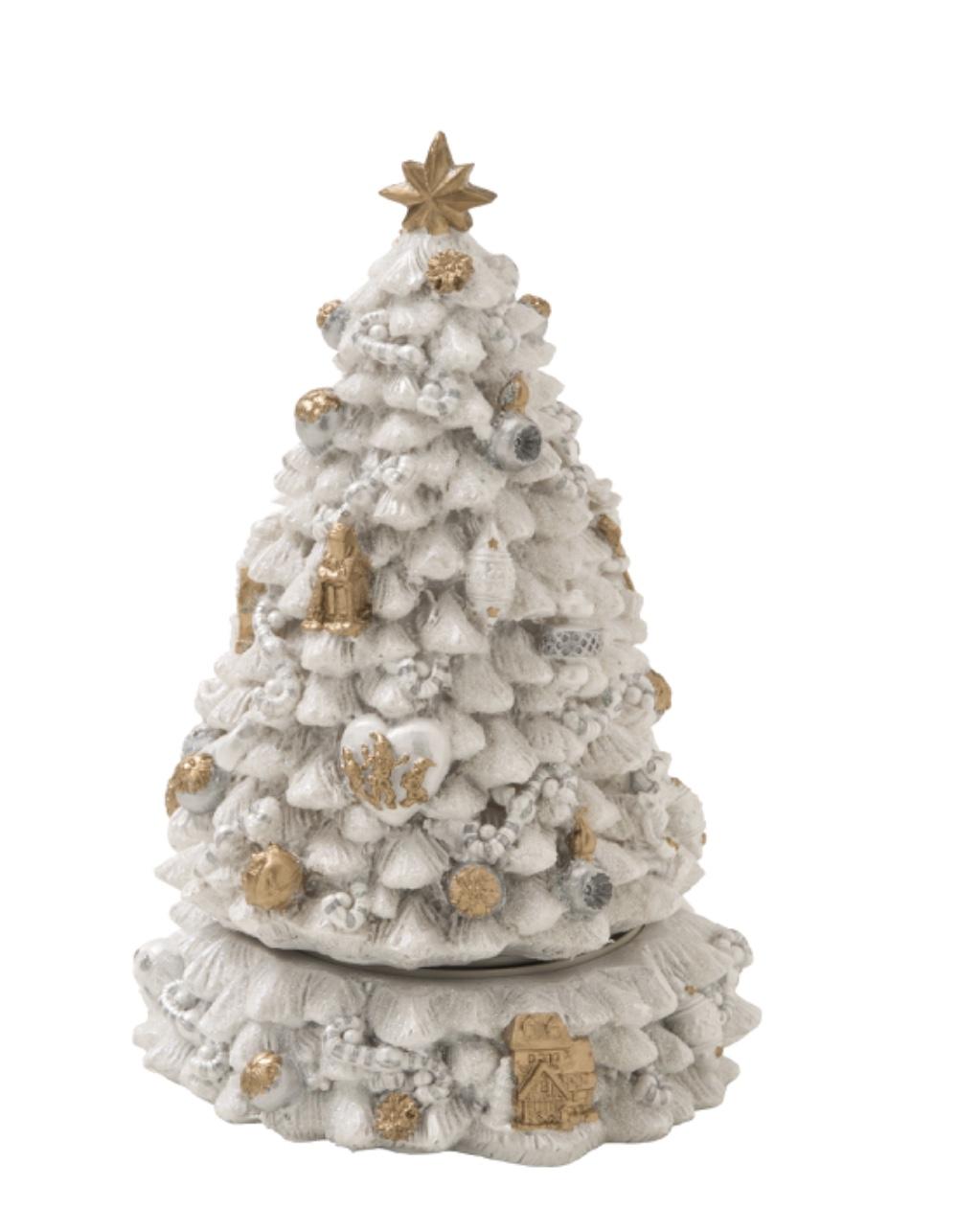 Foto Alberi Di Natale Bianchi carillon albero di natale con movimento-bianco- 17,5x29,5 cm- brandani49